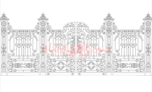 Bản vẽ cổng sắt file cad
